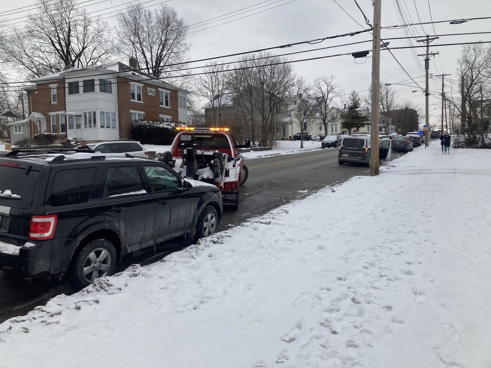 39 cars were towed after large snow accumulations on Presidents' Day weekend.