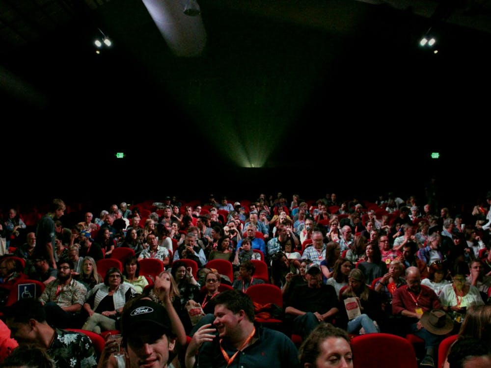 Crowd packs in on the last day of the Telluride Film Festival the Werner Herzog Theater. This was the first year Miami sent 5 students to Colorado as part of the new film studies major.