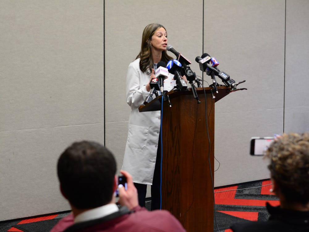 "Ohio Department of Health Director Amy Acton cautioned the Miami community to remain calm.  ""When fear drives us, it's important to know the facts,"" she said."
