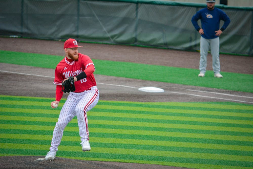<p>Pitcher Sam Bachman will likely hear his named called in the first round of Sunday night&#x27;s Major League Baseball (MLB) Draft. The righty hopes to contribute right away in the MLB. <em>Courtesy of Miami Athletics</em></p>