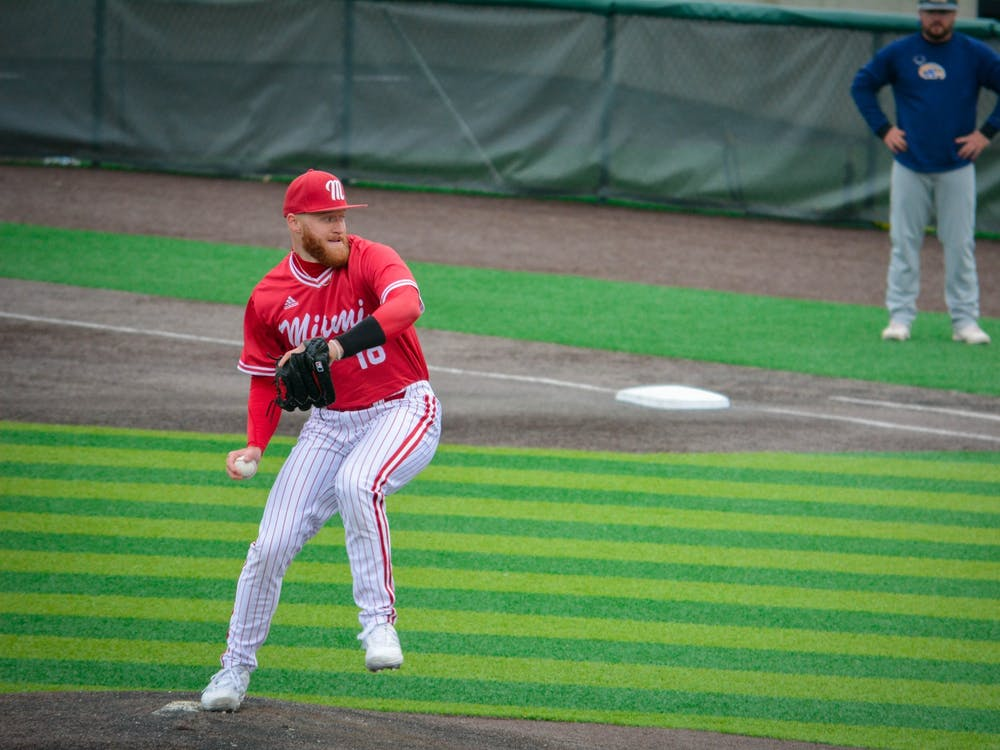 Pitcher Sam Bachman will likely hear his named called in the first round of Sunday night's Major League Baseball (MLB) Draft. The righty hopes to contribute right away in the MLB. Courtesy of Miami Athletics