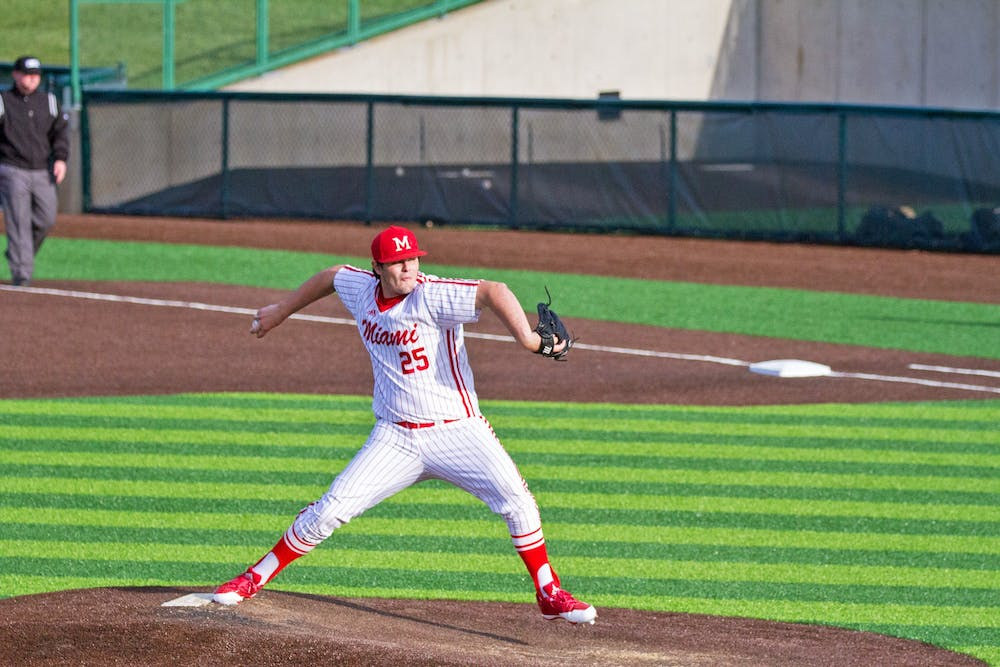 <p>Redshirt junior Grant Hartwig pitched and started as a designated hitter before his 2018 injury. Now, after a conversation with his head coach, Danny Hayden, Hartwig is focused solely on pitching.</p>