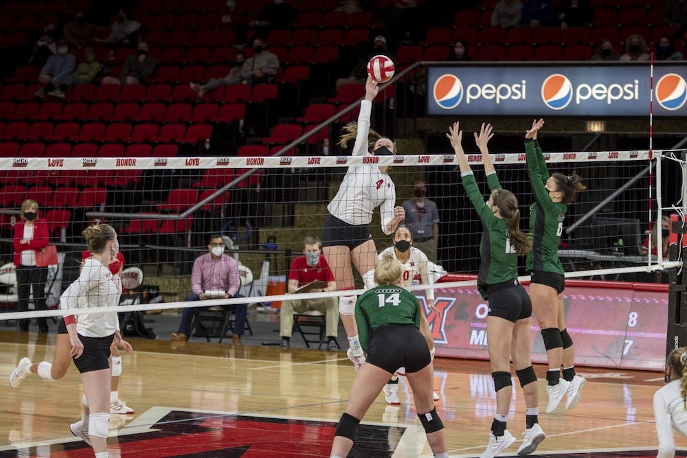 <p>Freshman middle hitter Abby Stratford spikes the ball during last weekend&#x27;s series against Ohio </p>