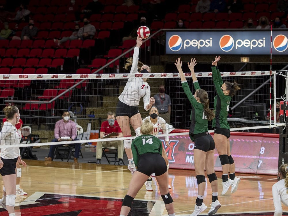 Freshman middle hitter Abby Stratford spikes the ball during last weekend's series against Ohio
