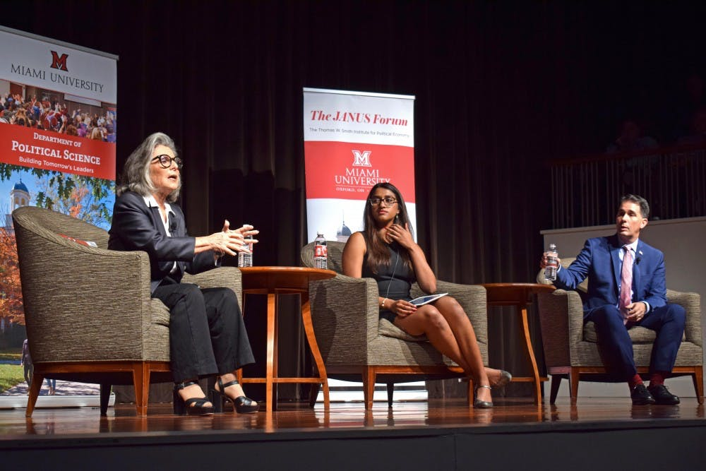 <p>Former Democratic Senator Barbara Boxer and Former Republican Governor Scott Walker found common ground while debating the Trump presidency. </p>