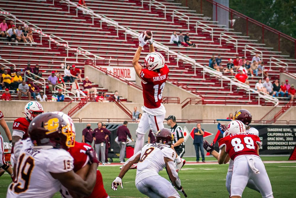 <p>Sixth-year senior wide receiver Jack Sorenson jumps for a catch during an Oct. 2 win vs. Central Michigan. Sorenson ran the ball into the end zone to put Miami ahead 28-17.</p>