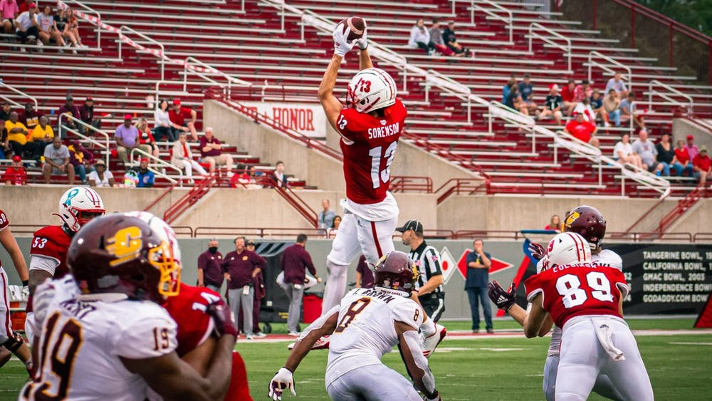 Sixth-year senior wide receiver Jack Sorenson jumps for a catch during an Oct. 2 win vs. Central Michigan. Sorenson ran the ball into the end zone to put Miami ahead 28-17.