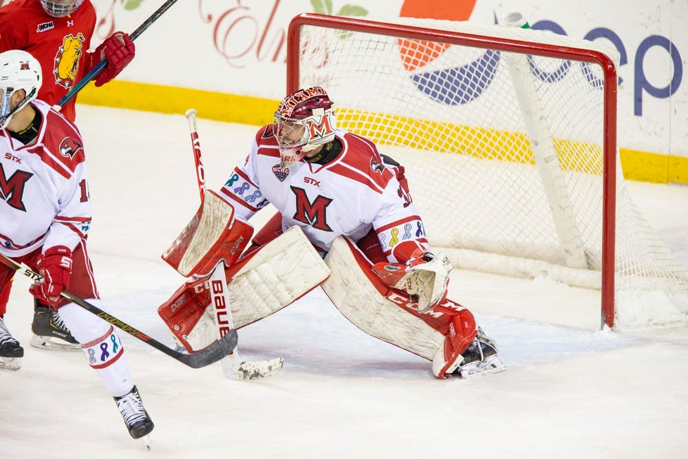 <p>Senior Ryan Larkin is in his fourth season as Miami&#x27;s starting goaltender. This season, Larkin has saved 88.4 percent of the shots he&#x27;s faced.</p><p><br/><br/><br/><br/><br/><br/></p>