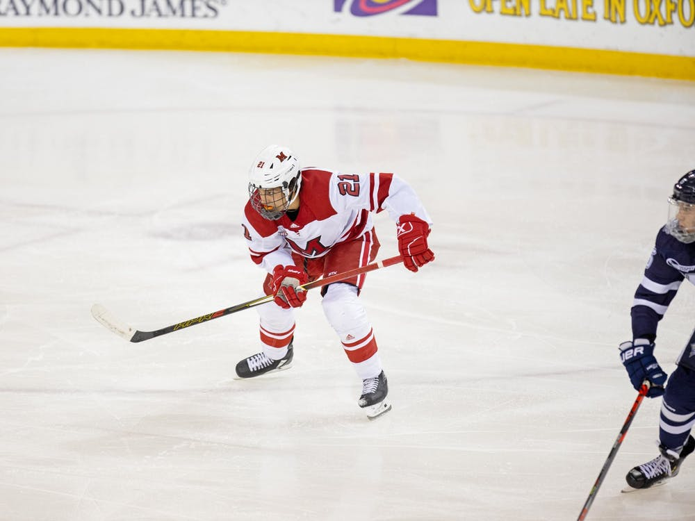 Freshman forward Ryan Larkin skates against New Hampshire on Oct. 12 at the Steve 'Coach' Cady Arena in the Goggin Ice Center. Miami tied UNH, 4-4, in an overtime contest.