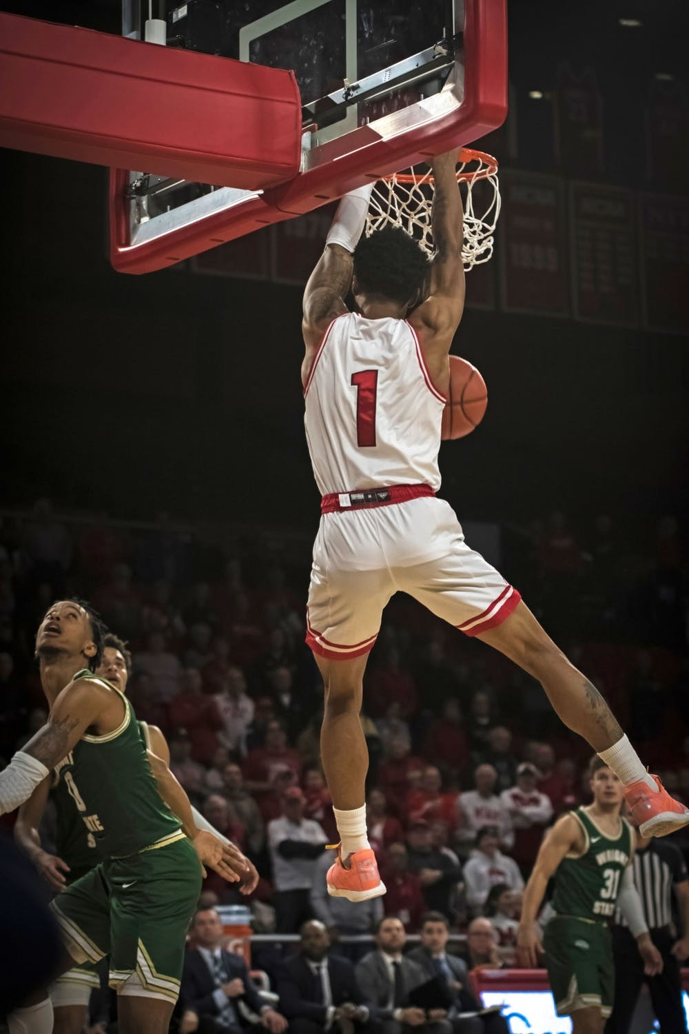 <p>Junior guard Nike Sibande dunks an alley-oop pass for Miami&#x27;s first points of the 2019-2020 season on Nov. 9 at Millett Hall. Sibande, who flirted with the National Basketball Association in the offseason, scored 24 points in the RedHawks&#x27; 88-81 loss to Wright State.</p>