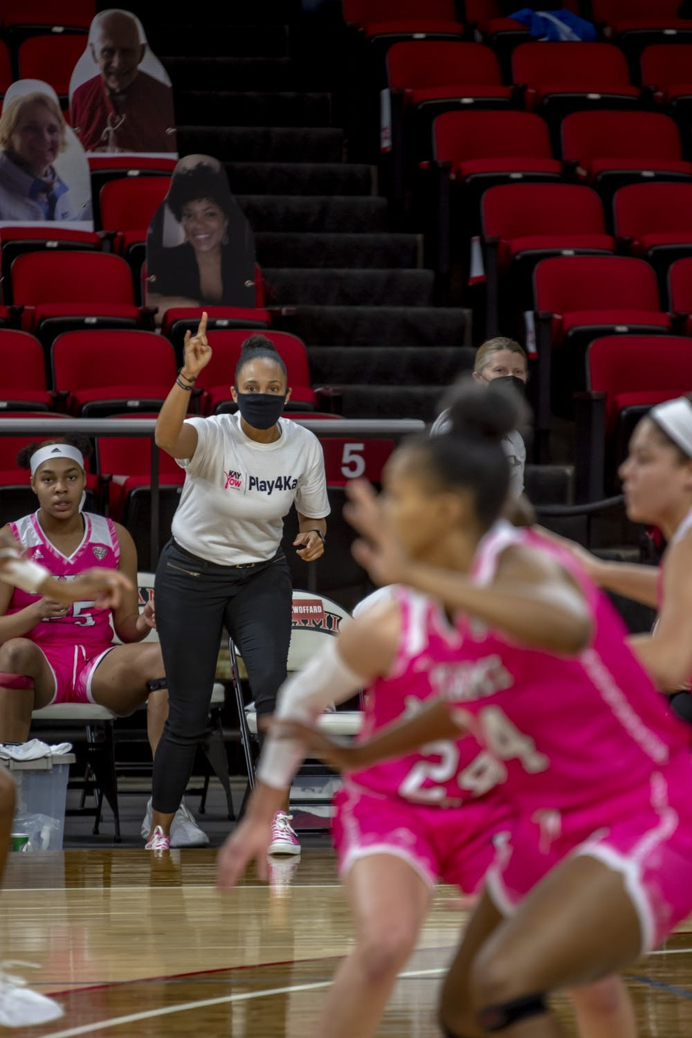 <p>Women&#x27;s basketball assistant coach Tiffany Swoffard (pictured, in white) has had to adapt her recruiting efforts during the COVID-19 pandemic.</p>
