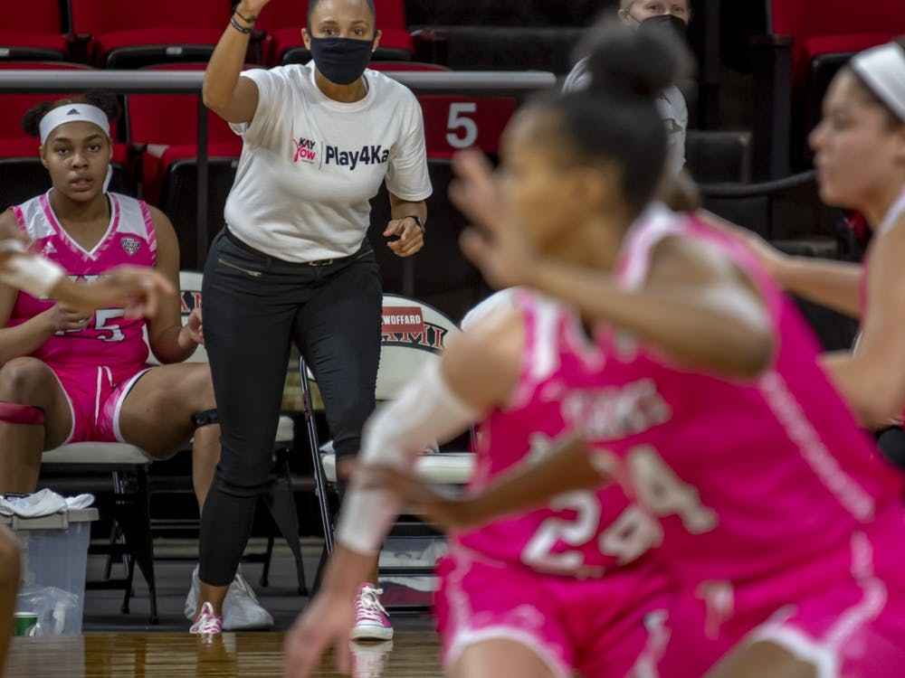 Women's basketball assistant coach Tiffany Swoffard (pictured, in white) has had to adapt her recruiting efforts during the COVID-19 pandemic.