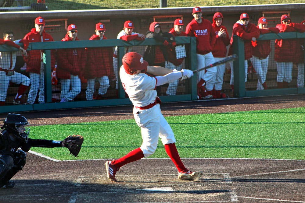 <p>Senior Landon Stephens swings during a 7-3 Miami victory over Purdue Fort Wayne Saturday at Hayden Park. </p>