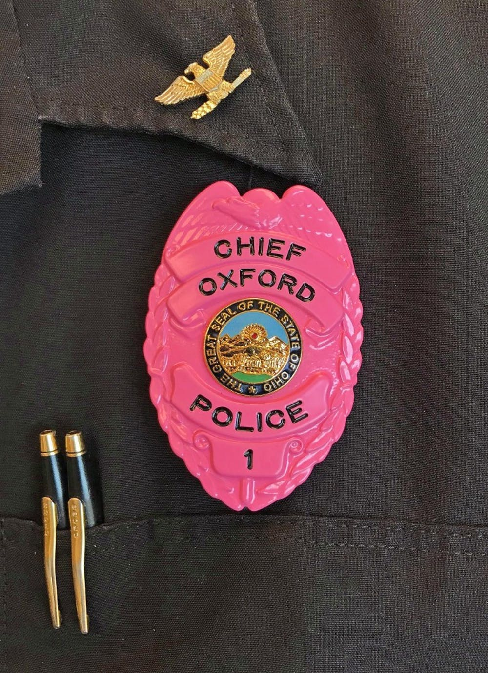 <p>OPD held its second annual pink badge fundraiser.</p>