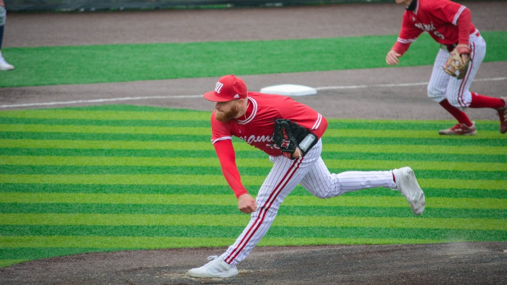 Sam Bachman was selected by the Los Angeles Angels with the 9th overall pick in the MLB Draft. Courtesy of Miami Athletics