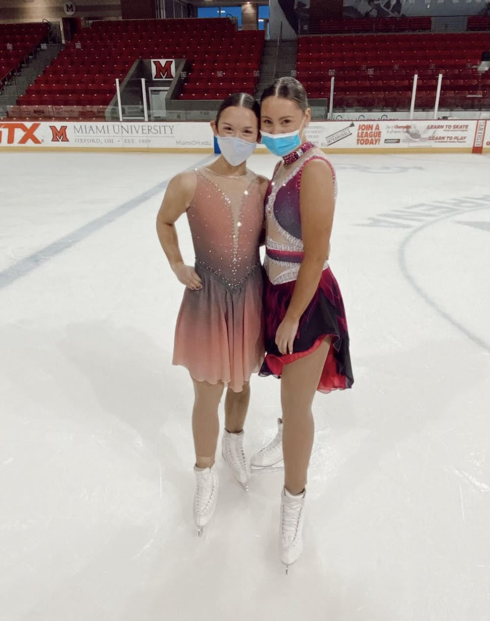<p>First-years Sammie Levine (left) and Faith Tanis (right) hope to compete with the synchronized skating team next year after their season was canceled due to COVID-19.</p>