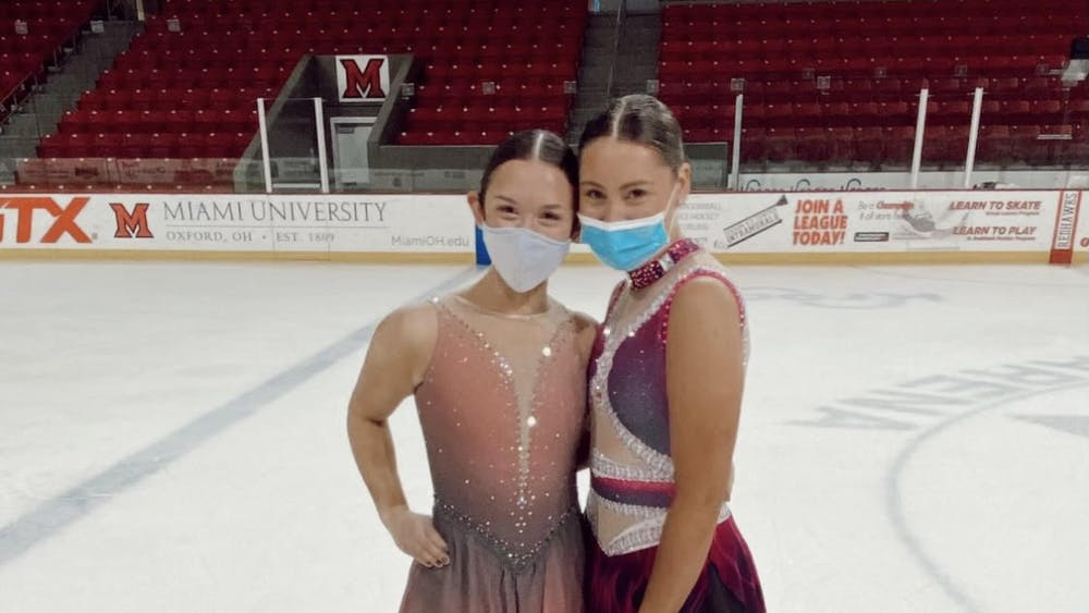 First-years Sammie Levine (left) and Faith Tanis (right) hope to compete with the synchronized skating team next year after their season was canceled due to COVID-19.