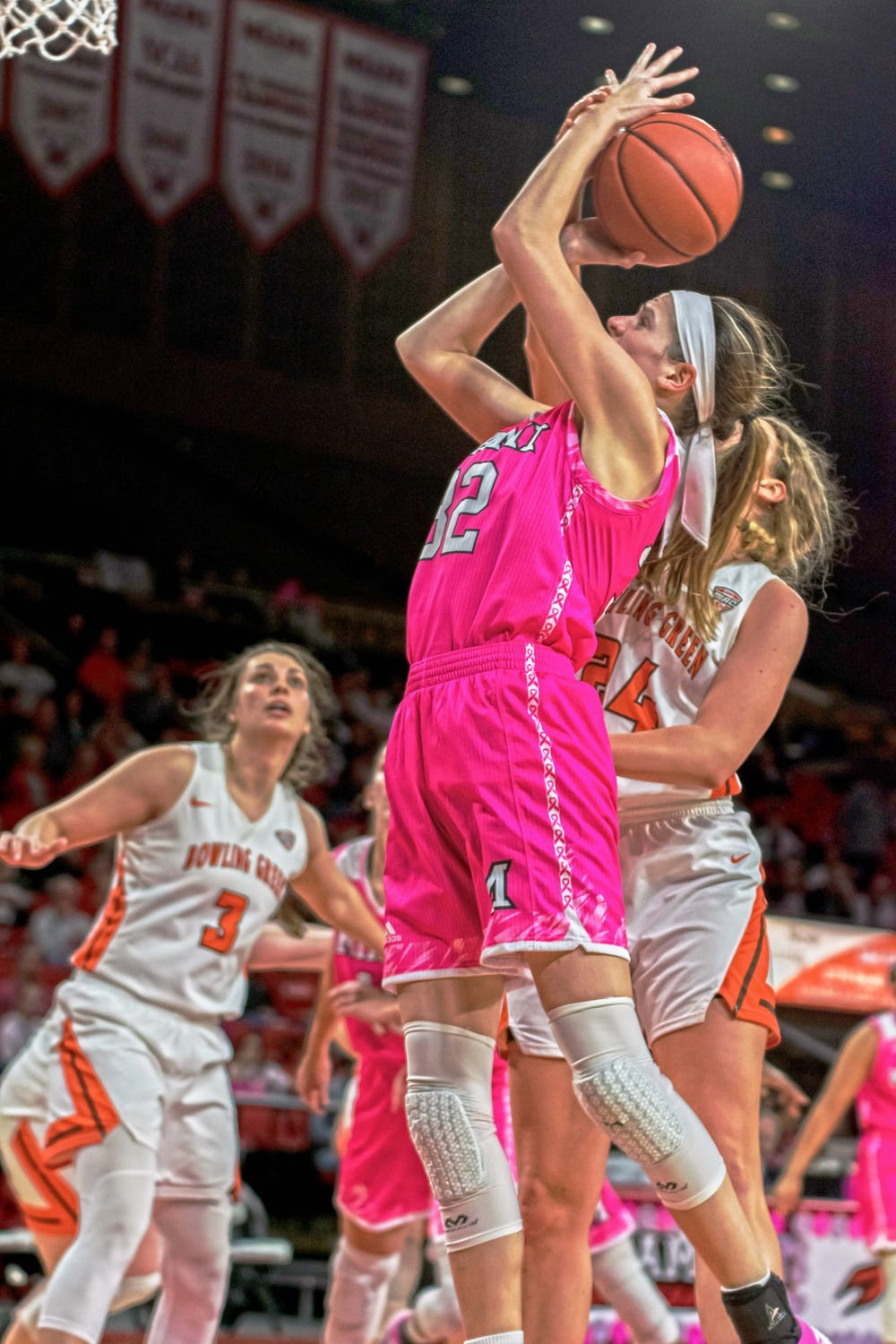 <p>Savannah Kluesner attempts a layup during Miami&#x27;s 75-62 victory over the Bowling Green Falcons Feb. 23, 2019, at Millett Hall. Kluesner posted an 11-point, 14-rebound double-double.</p>