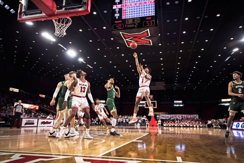 <p>Sophomore guard Dae Dae Grant (pictured, no. 3) hopes to lead the RedHawks to victory on national television.</p>