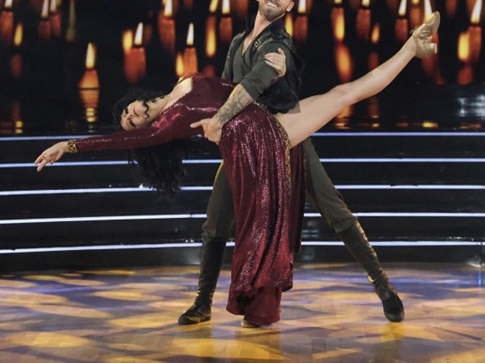"""Actress Melora Hardin, known most for her roles on """"Monk"""" and """"Hannah Montana: The Movie"""", performs a """"Tangled""""-inspired jazz routine with her professional partner Artem Chigvintsev."""