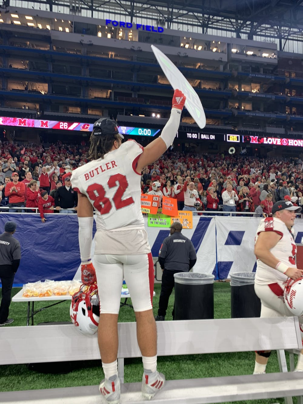 <p>Sophomore defensive lineman Kam Butler celebrates Miami&#x27;s Mid-American Conference Championship game victory Dec. 7 at Ford Field.</p>