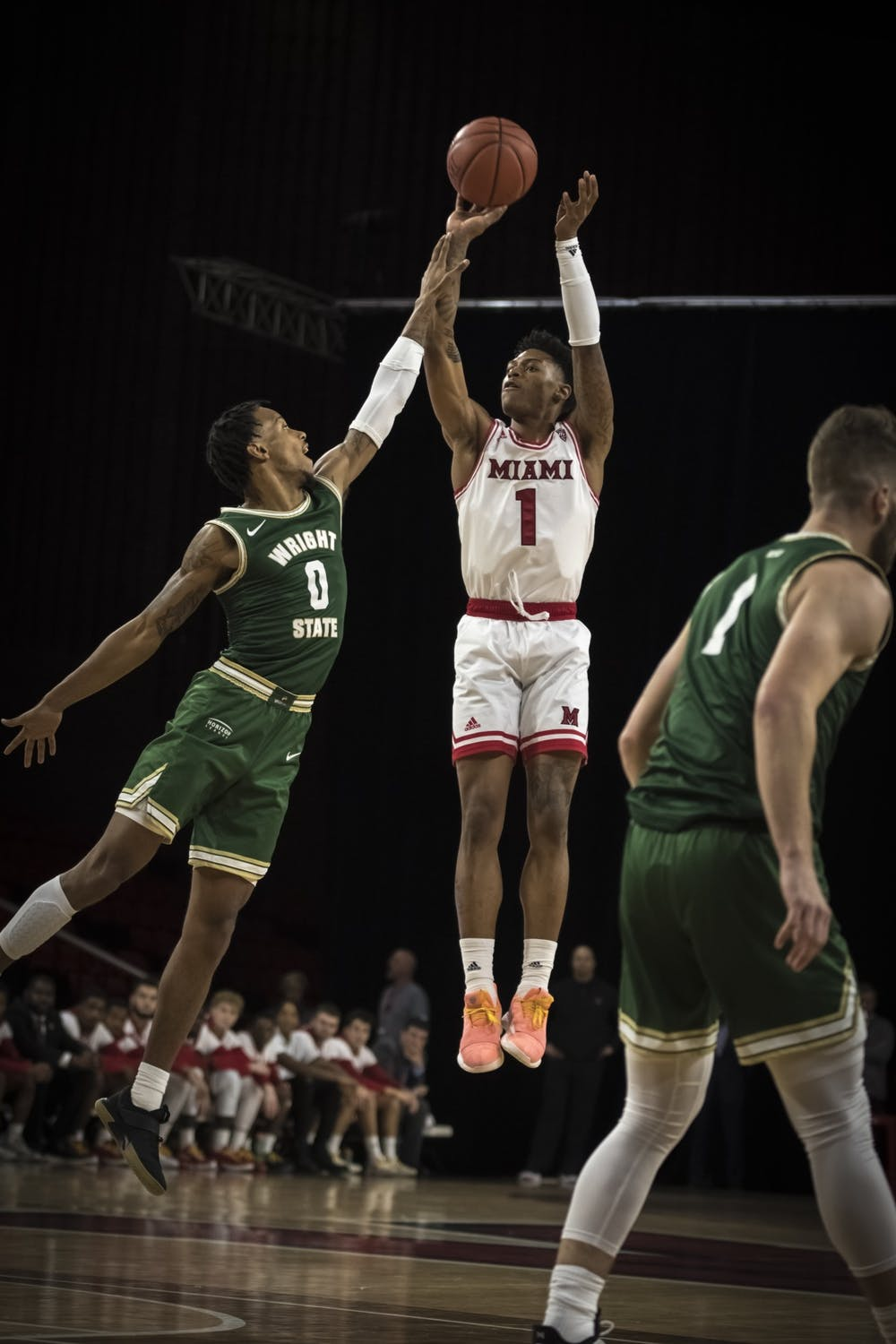 <p>Junior guard Nike Sibande shoots a jumper against Wright State on Nov. 9, 2019, at Millett Hall. Miami lost the game, 88-81, but Sibande scored 24 points.</p>