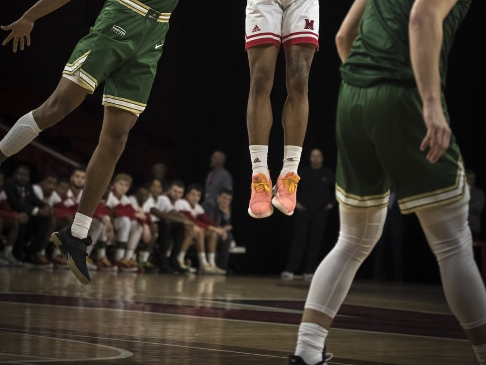 Junior guard Nike Sibande shoots a jumper against Wright State on Nov. 9, 2019, at Millett Hall. Miami lost the game, 88-81, but Sibande scored 24 points.