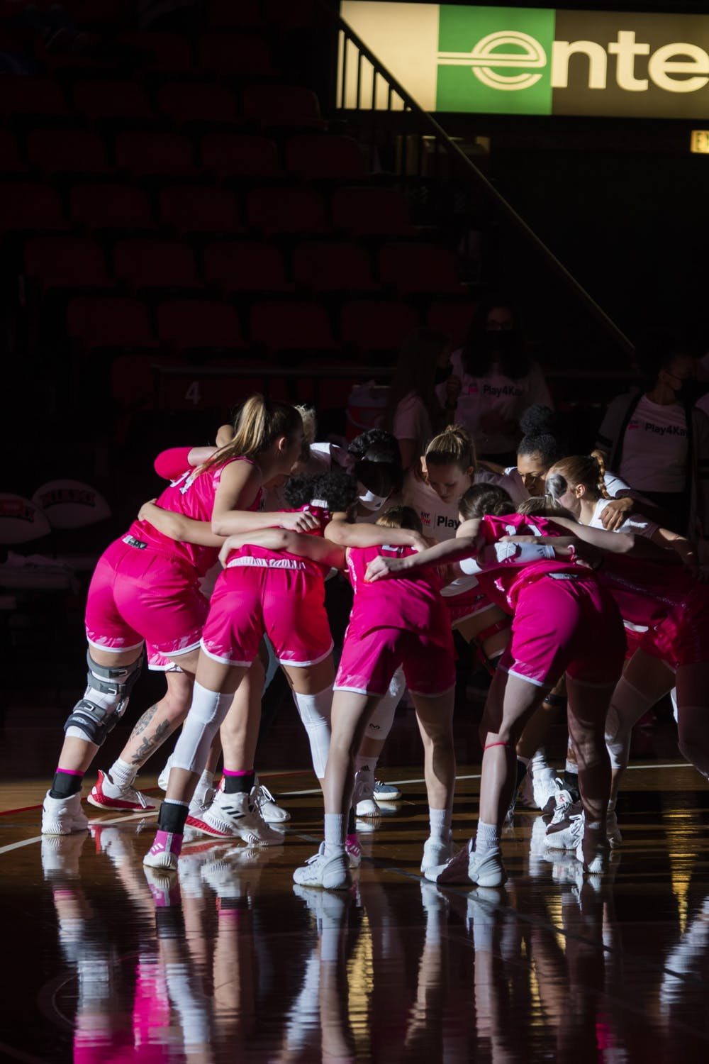 <p>The women&#x27;s basketball team huddles up before its game against Western Michigan. The game ended with the RedHawks breaking a 13-game losing streak.</p>