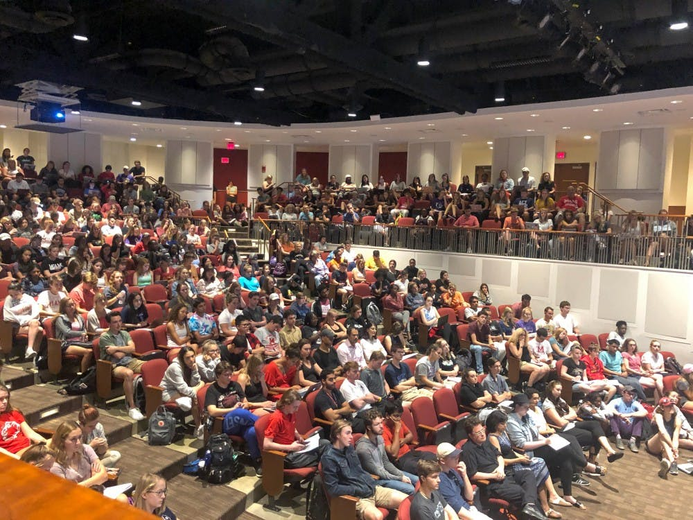 <p>Students packed into Wilks Theater to listen to eight panelists discuss their experiences on Miami&#x27;s majority-white campus.</p>