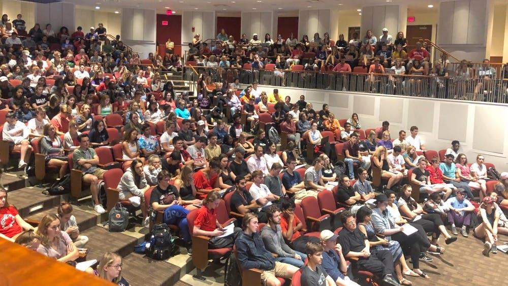 Students packed into Wilks Theater to listen to eight panelists discuss their experiences on Miami's majority-white campus.