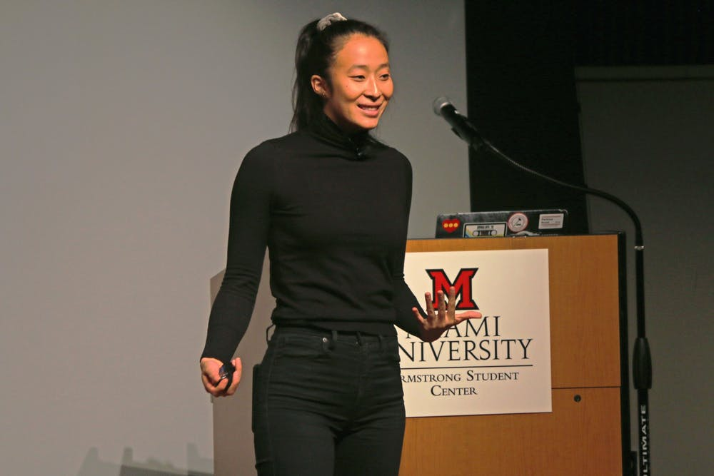<p>Nadya Okatomo speaks to Miami students about the importance of finding their community and overcoming mental health struggles. </p>