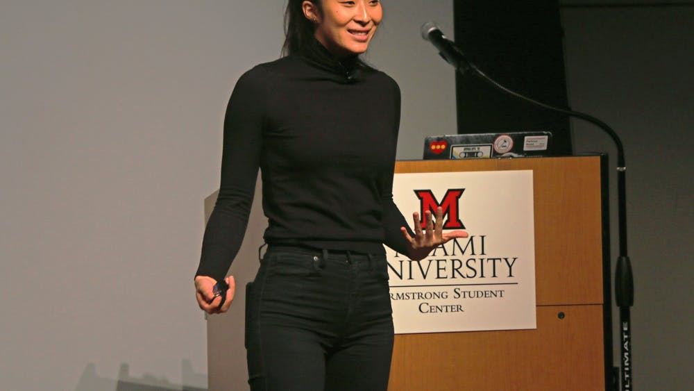 Nadya Okatomo speaks to Miami students about the importance of finding their community and overcoming mental health struggles.