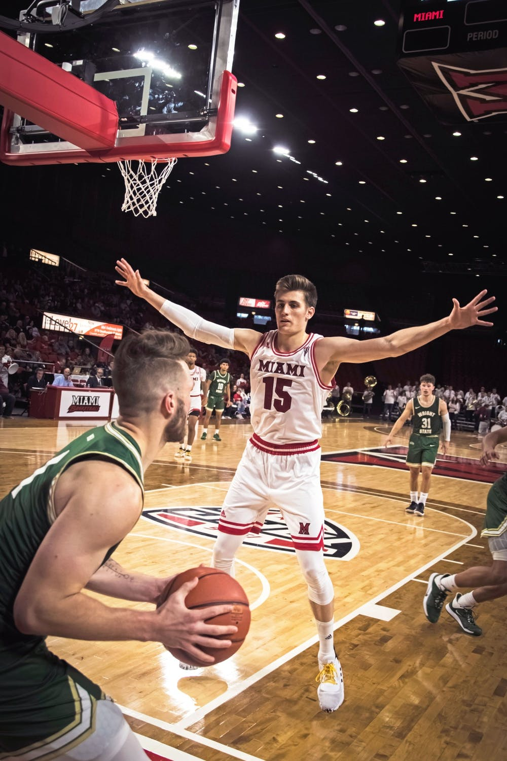<p>Redshirt junior guard Milos Jovic defends an inbounds play during a season-opening 88-81 loss against Wright State Nov. 9 at Millett Hall.</p><p><br/><br/><br/><br/><br/><br/></p>