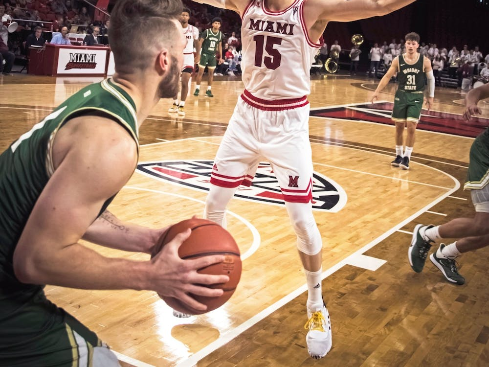 Redshirt junior guard Milos Jovic defends an inbounds play during a season-opening 88-81 loss against Wright State Nov. 9 at Millett Hall.