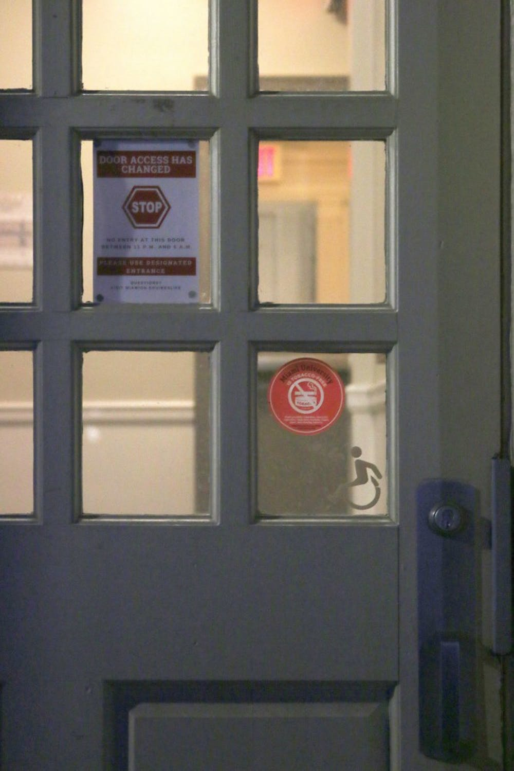 Students can only enter one residence hall door during nighttime hours.