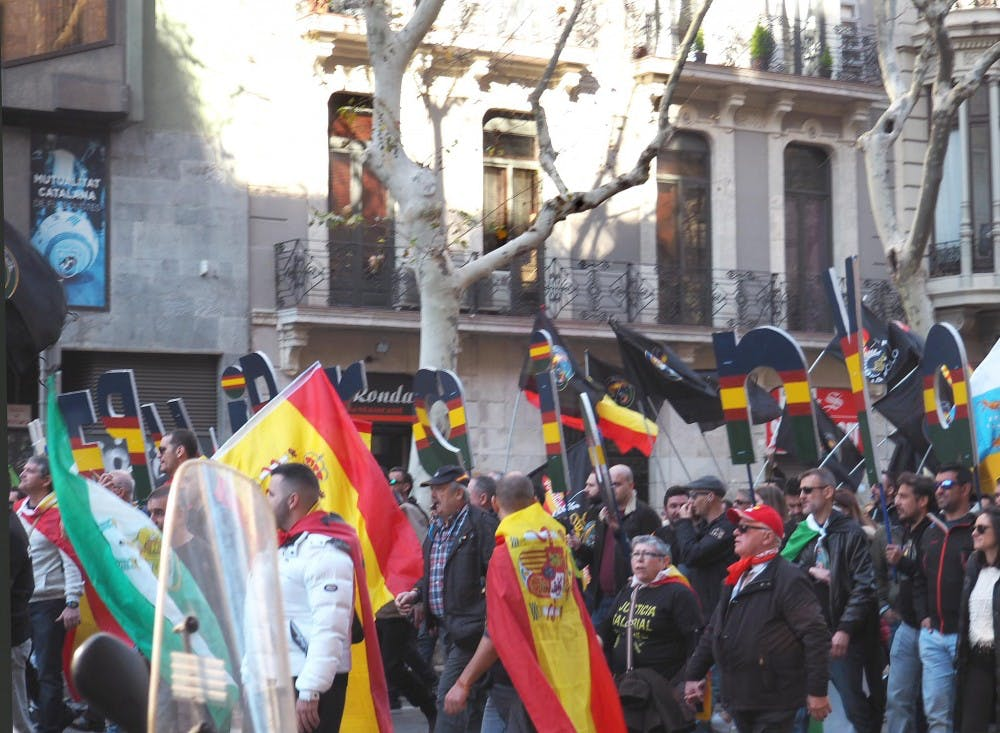 Protestors push for independence in Barcelona.