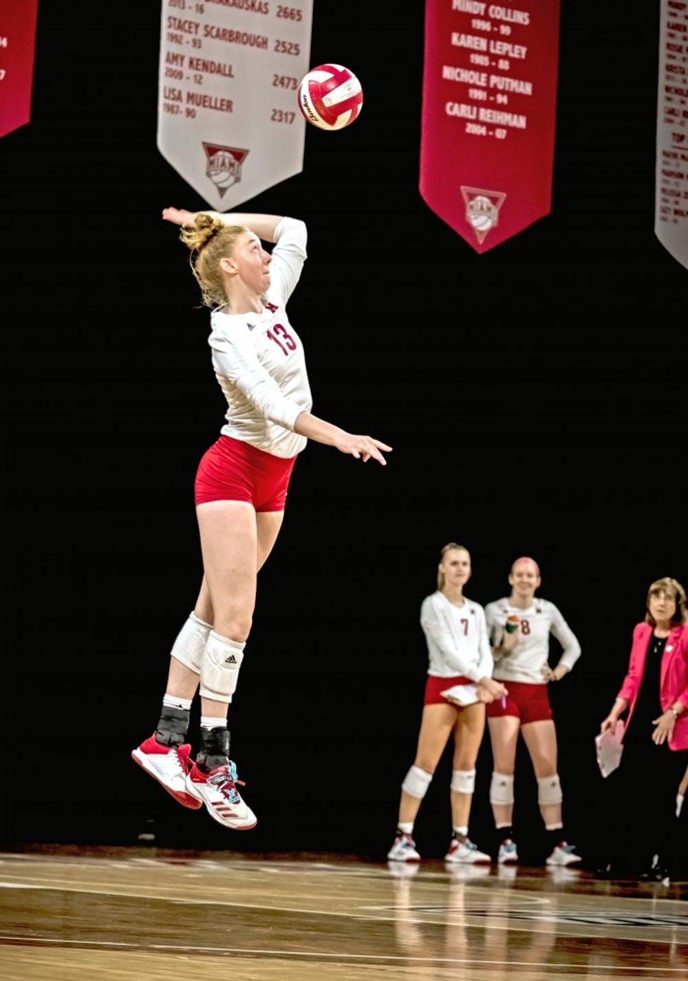 <p>Sophomore setter Louis Comerford serves at Millett Hall, where Miami is 6-3 this season.</p>