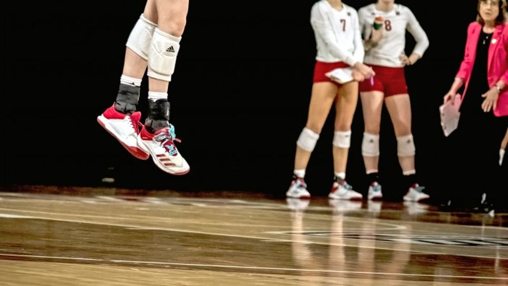 Sophomore setter Louis Comerford serves at Millett Hall, where Miami is 6-3 this season.