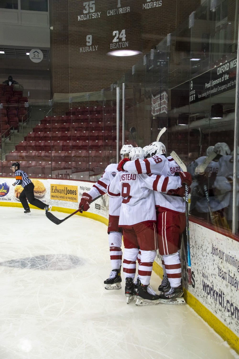 <p>Several RedHawks celebrate a goal during a Feb 13 loss to St Cloud State</p>