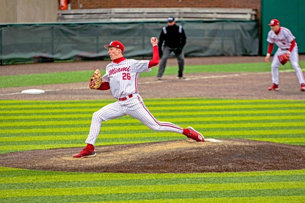 <p>Junior pitcher Tyler Bosma throws a pitch during his freshman season</p>