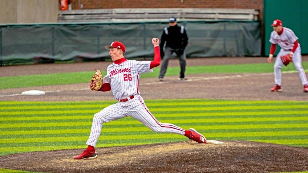 Junior pitcher Tyler Bosma throws a pitch during his freshman season