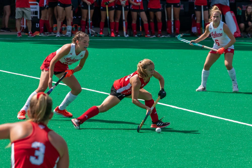 <p>Junior midfielder Luli Rosso (middle) passes the ball to a teammate in Miami&#x27;s 1-0 home loss to Indiana University.</p>