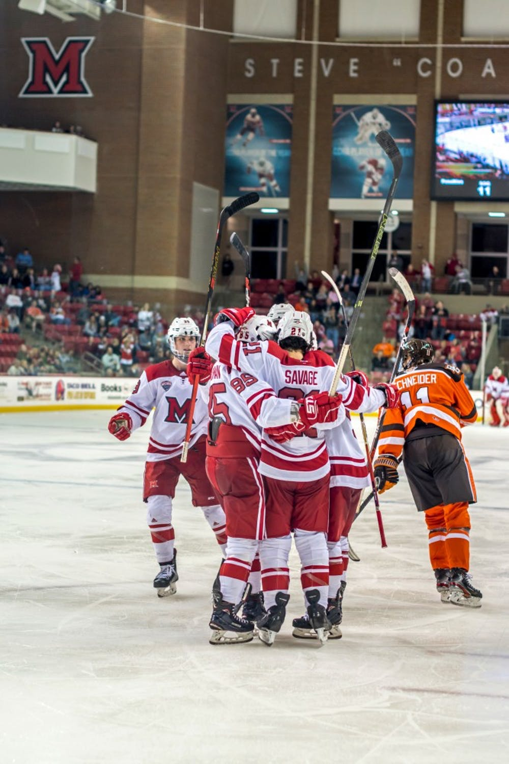 <p>Five RedHawks celebrate against Bowling Green at the Goggin Ice Center Sunday. In his first year as head coach, Chris Bergeron is trying to create a new culture.</p><p><br/><br/><br/><br/><br/><br/></p>