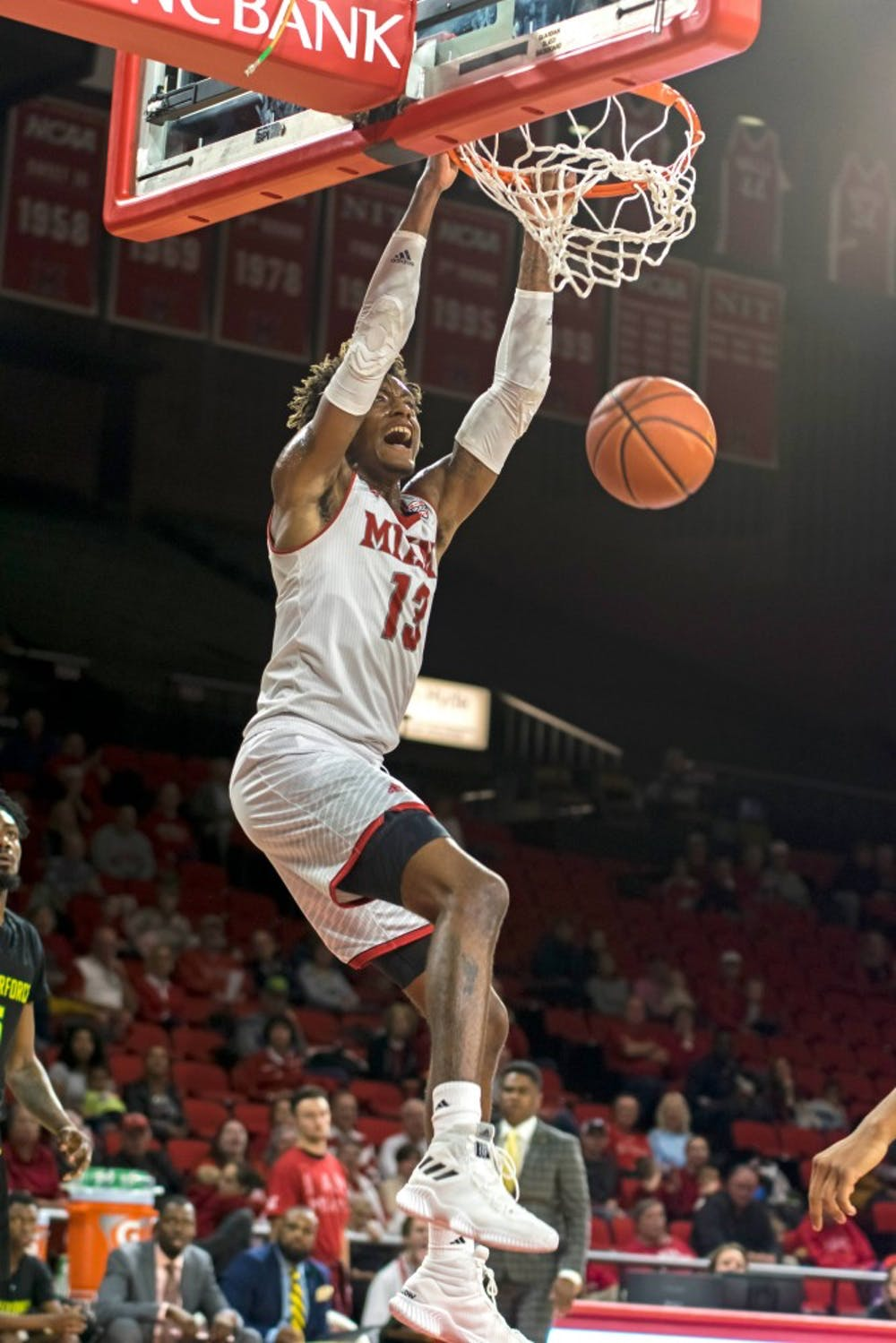 <p>Dalonte Brown has stepped up his game for the RedHawks, averaging 12.6 points per game.</p>