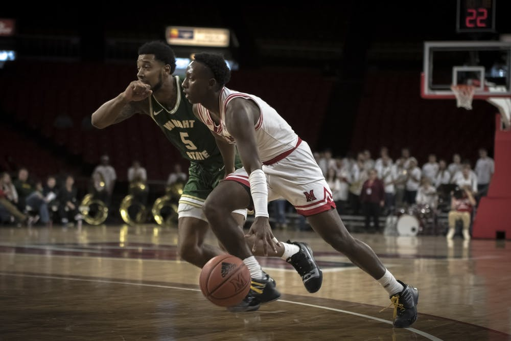 <p>Isaiah Coleman-Lands drives past a Wright State defender during Miami&#x27;s season-opening loss to the Raiders on Nov. 9, 2019. Coleman-Lands averaged eight points per game during the 2019-20 season.</p>