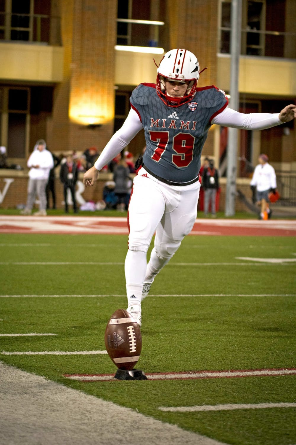 <p>Sam Sloman practices kicks on Miami&#x27;s sideline during a RedHawks victory over Bowling Green on Nov. 13 at Yager Stadium.</p>