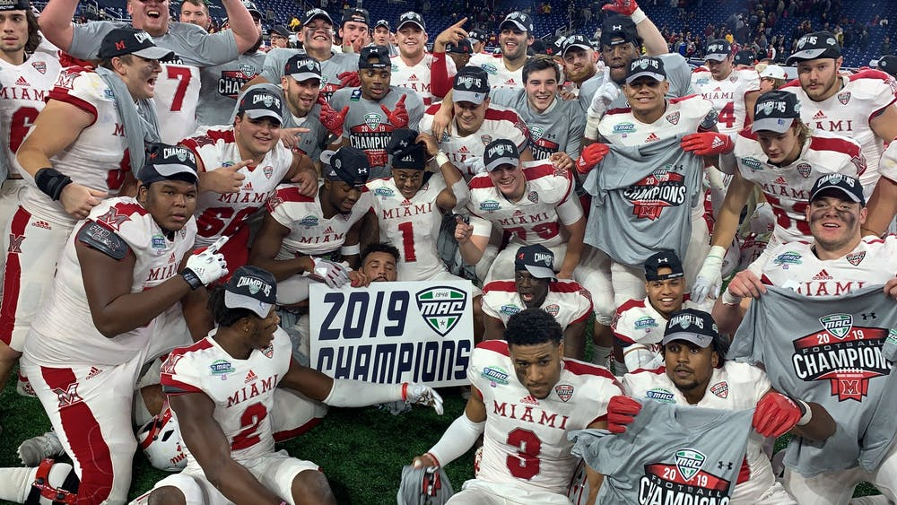 <p>The Miami RedHawks celebrate their Mid-American Conference Championship victory Dec. 7 at Ford Field.</p>