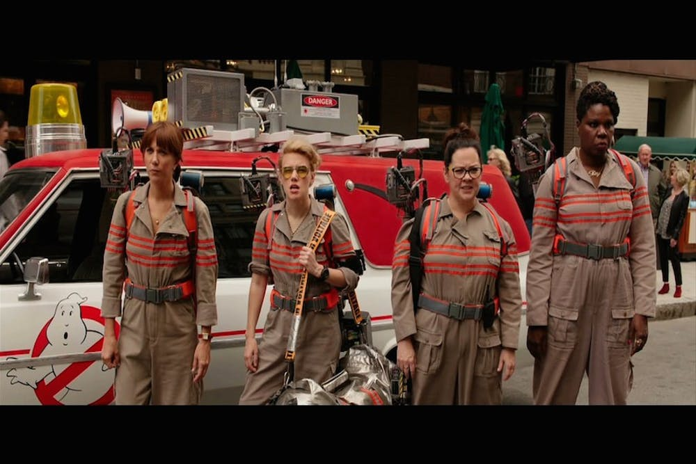 Kristen Wiig, Kate McKinnon, Melissa McCarthy and Leslie Jones in a still from 2016's 'Ghostbusters.'