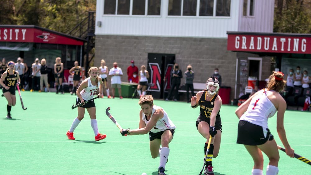 Senior midfielder Leonor Berlie shoots and scores a goal during an April 16 game vs Appalachian State.