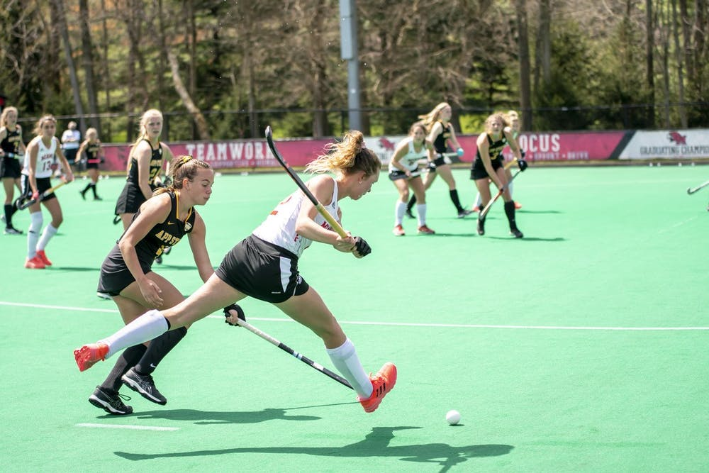 <p>Senior forward Noor Breedijk makes a pass during an April 16 win vs. Appalachian State.</p>